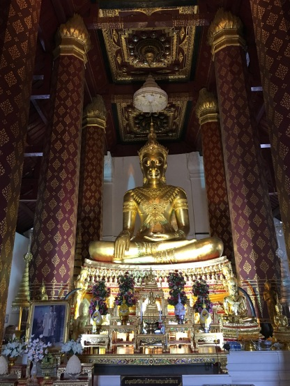 The largest golden Buddha at this temple (filled with gold Buddhas)