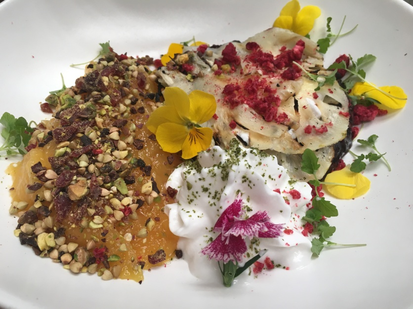 Cultured mango, charred pineapple, coconut yoghurt, coconut black rice, pistachios, cocoa nibs.