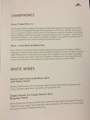 Thai Air Wine List