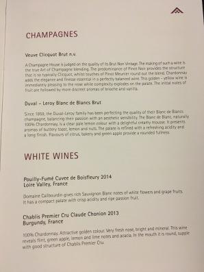 Thai Air Wine List