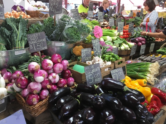 Produce shopping at the Queen Victoria market