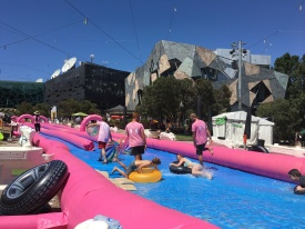 There was a giant slip-n-slide set up downtown just after NYE.