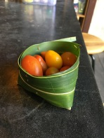 I couldn't resist the little tomatoes in the palm leaf basket