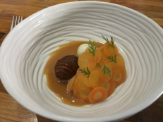 Carrot, baby potato, quail egg