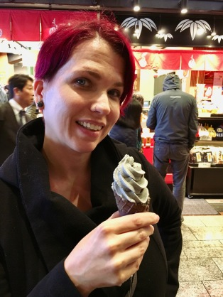 Beth enjoys a goth treat - black sesame ice cream