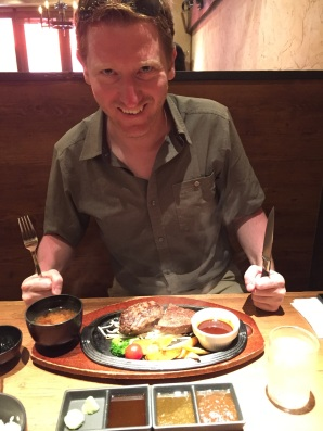 The German is very excited for his wagyu steak