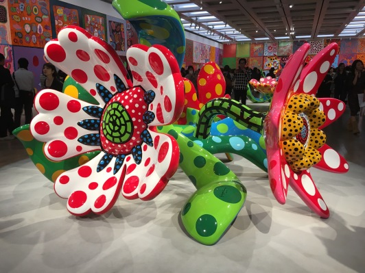 Some of the many large flower sculptures